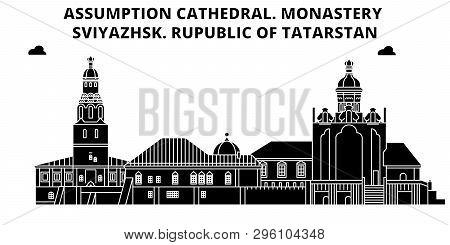Russia, Tatarstan, Assumption Cathedral. Monastery, Sviyazhsk ,  Travel Skyline Vector Illustration.