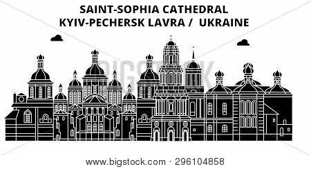 Ukraine , Kyiv, Pechersk Lavra ,  Travel Skyline Vector Illustration.