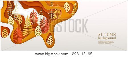 Autumn Horizontal Banner With Multi Layered Shapes And Leaves In Paper Cut Style. Yellow, Orange, Re