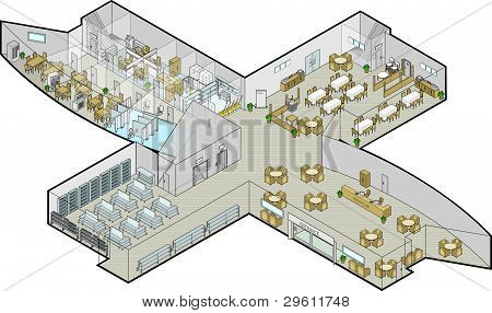 Office Building Ground Floor Vector Isometric