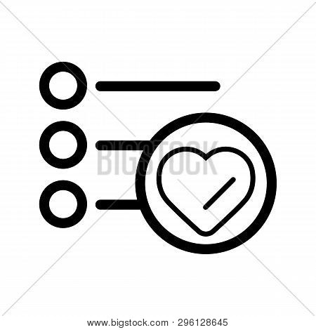To-do List For Valentines Day. Shopping List Vector Icon. Reminders. Bulleted List