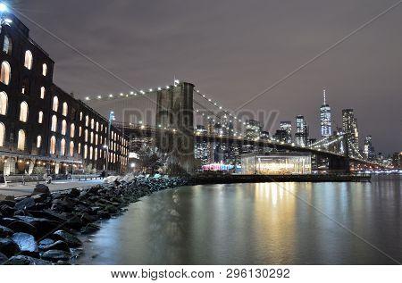 Brooklyn Bridge Taken From Brooklyn Bridge Park Against A Lower Manhattan.