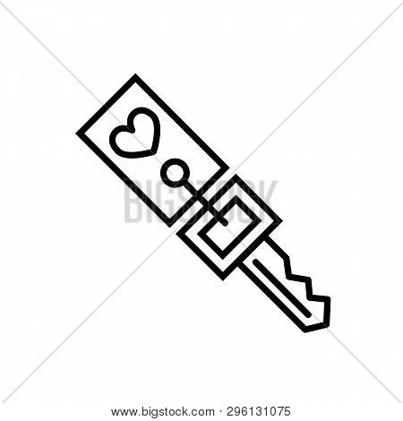 Trinket For Keys As Heart Vector Icon Isolated On Background. Thin Linear Trinket For Keys As Heart