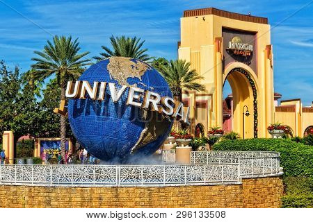 Orlando Fl, Usa - January 9, 2019: Universal Studios Globe Located At The Entrance To The Theme Park