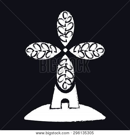 Bakery, Bakehouse Craft Logo Or Label. Windmill, Mill Symbol, Vector,