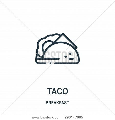 Taco Icon Isolated On White Background From Breakfast Collection. Taco Icon Trendy And Modern Taco S