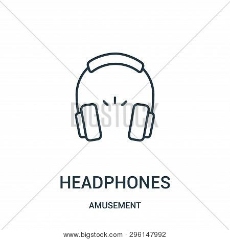 Headphones Icon Isolated On White Background From Amusement Collection. Headphones Icon Trendy And M