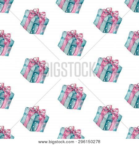 Present Box Seamless Gift Pattern. Giveaway Holidays Repeated Pattern Present Boxes Illustration For