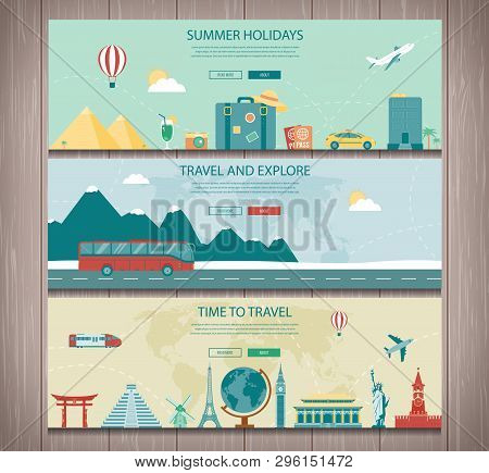 Travel Composition With World Landmarks And Travel Equipment. Travel And Tourism. Concept Website Te