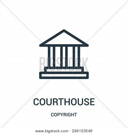 Courthouse Icon Isolated On White Background From Copyright Collection. Courthouse Icon Trendy And M