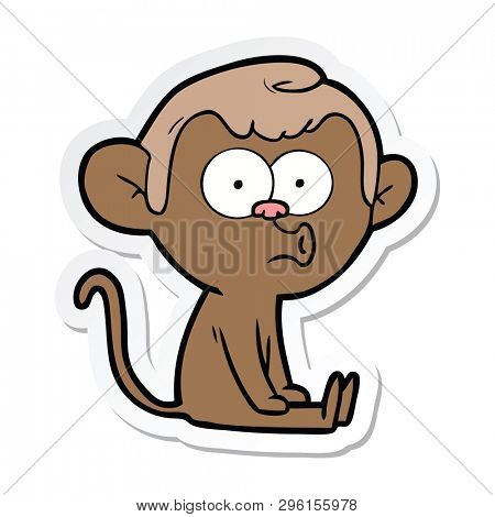 sticker of a cartoon hooting monkey poster