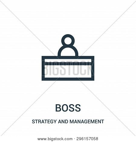Boss Icon Isolated On White Background From Strategy And Management Collection. Boss Icon Trendy And