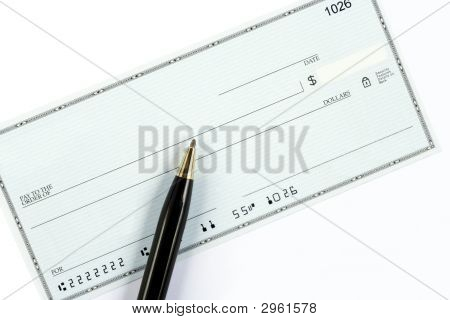 Blank Check With Pen