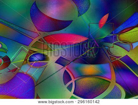 Modern art abstract. 3D rendering poster