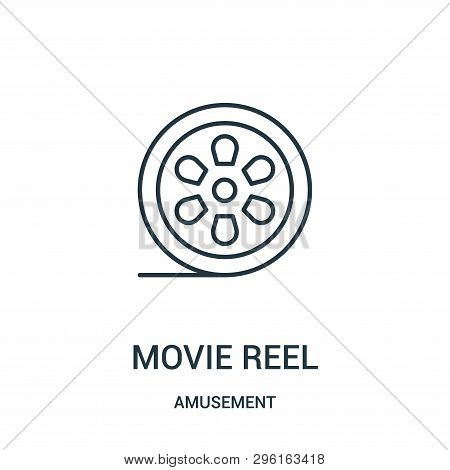 Movie Reel Icon Isolated On White Background From Amusement Collection. Movie Reel Icon Trendy And M