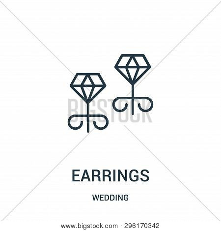 Earrings Icon Isolated On White Background From Wedding Collection. Earrings Icon Trendy And Modern