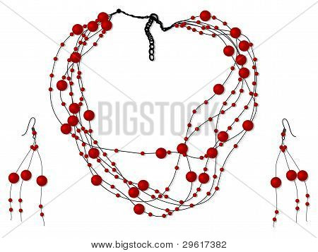 Vector illustration of necklace with red pearls poster