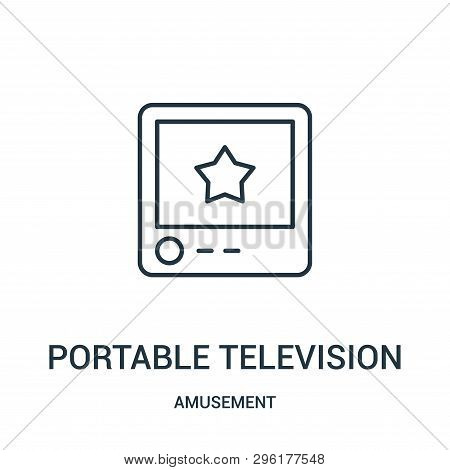 Portable Television Icon Isolated On White Background From Amusement Collection. Portable Television