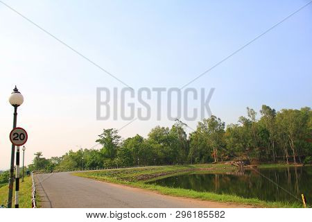 Lanscape View Natural Blue Sky With Red And White Milestone Are Long Line And Indicative The Way To