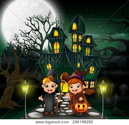 Couple Witch In Front Of The Hounted House With Full Moon