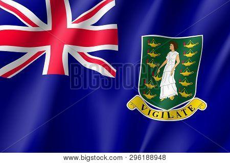 Waving National Flag Of British Virgin Islands. Patriotic Symbol In Official Country Colors. Illustr