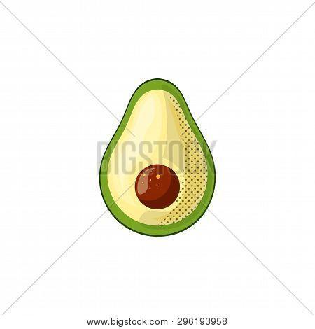 Fresh Juicy Vegetable - Avocado Vector Icon Isolated On White Background. Avocado Icon, Flat Style,