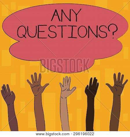 Text Sign Showing Any Questions Question. Conceptual Photo You Say Write Order To Ask Demonstrating
