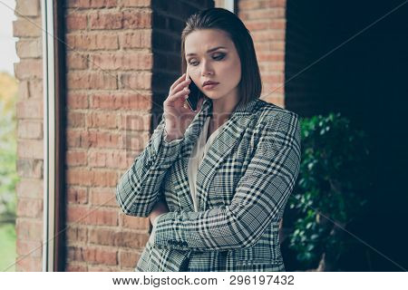 Close Up Photo Amazing Busy She Her Business Lady Concentrated Hold Arms Hands Telephone Smart Phone