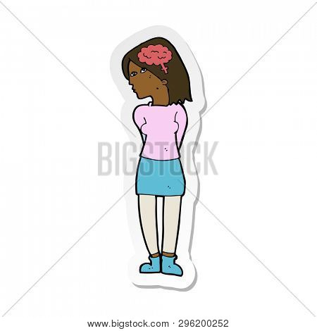 sticker of a cartoon brainy woman