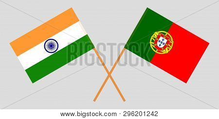 Portugal And India. The Portuguese And Indian Flags. Official Colors. Correct Proportion. Vector Ill