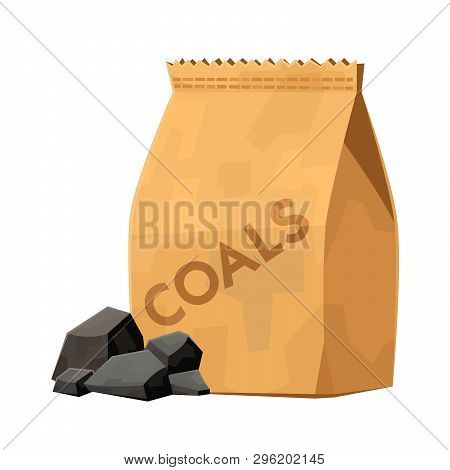 Charcoal Bag For Barbecue Grill Cartoon Vector Illustration On White Background