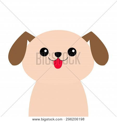 poster of Dog head face silhouette. Cute cartoon pooch character. Kawaii animal. Funny baby puppy. Love Greeting card Flat design White background Isolated. Vector illustration