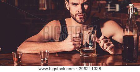 Having Some Beer. Alcohol Addict With Beer Mug. Man Drinker In Pub. Handsome Man Drink Beer At Bar C