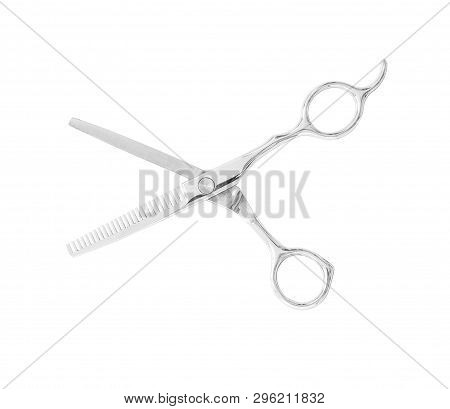 Steel Barber Scissors Isolated On White Background With Clipping Path. Hairdresser Salon Concept.