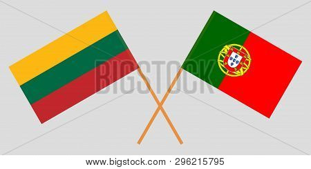 Portugal and Lithuania. The Portuguese and Lithuanian flags. Official colors. Correct proportion. Vector illustration poster