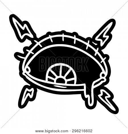 cartoon icon of an enraged eye
