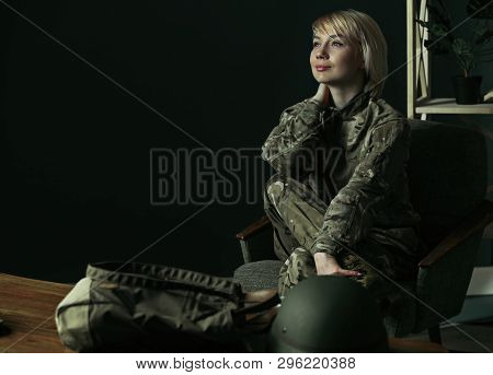 Dreaming About Home And Family, Happy To Come Back. Portrait Of Young Female Soldier. Woman In Milit