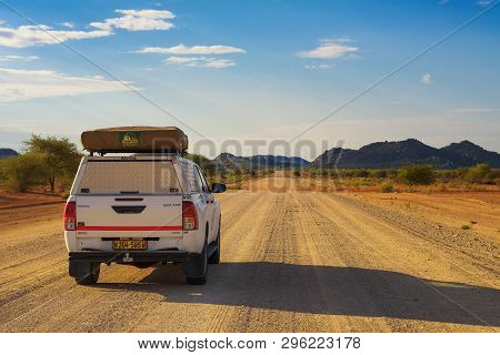 Damaraland, Namibia - March 30, 2019: Typical 4x4 Rental Car In Namibia Equipped With Camping Gear A