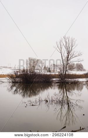 Spring Landscape, Snow Melts, Beautiful Riverside. Russia, Ural, March