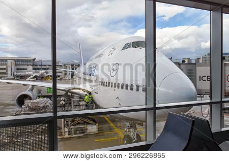 Frankfurt, Germany - February 12, 2018: View From The Departure Gate At Frankfurt Airport (fra) Onto