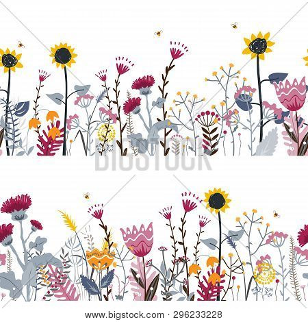 Vector Nature Seamless Background With Hand Drawn Wild Herbs, Flowers And Leaves On White. Doodle St