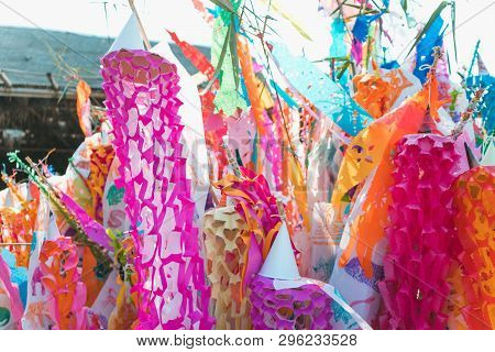 Northern Thailand Colorful Zodiac Ceremonial Flags .lanna Style Flags, Chiangmai, Thailand . During