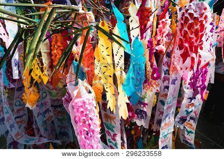 Northern Thailand Colorful Zodiac Ceremonial Flags.lanna Style Tung Flags, Chiangmai, Thailand . Dur