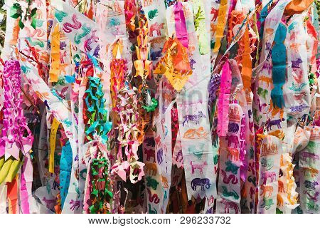 Northern Thailand Zodiac Ceremonial Flags During Songkran Festival.colorful Tung Lanna Style Flags,