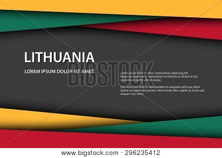 Vector Background With Lithuanian Colors And Free Grey Space For Your Text, Lithuanian Flag, Made In