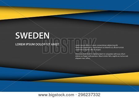Vector Background With Swedish Colors And Free Grey Space For Your Text, Swedish Flag, Made In Swede