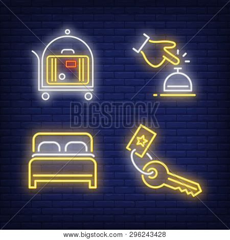 Hotel Service Neon Sign Set. Bedroom, Bell, Key, Luggage On Cart. Colorful Billboard, Bright Banner.