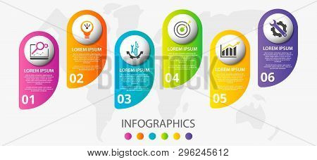 Vector Infographic 3D Template For Six Label, Diagram, Graph, Presentation And Circles. Business Con
