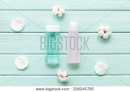Cosmetics For Face Clearing With Cotton Pads, Facial Tonic And Mycelial Water Mint Green Background