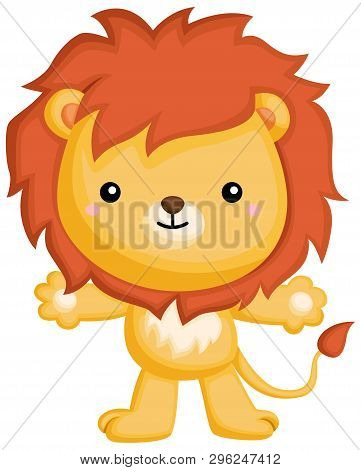 A Vector Of A Lion Standing Up On Two Feet
